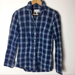 J Crew Blue Boy 00 Plaid Oxford Button Front Shirt